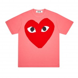 Pink  T-Shirt With Big Red Heart Men - Pink