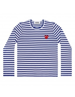 Long-Sleeved T-Shirt With Red Emblem Men - Blue