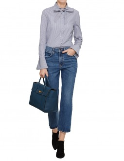 Cropped Non-Stretch Flare Jeans - Blue