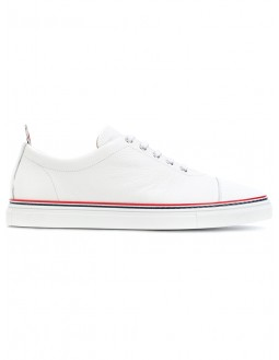 Calf Leather Toe Cap Trainers - White