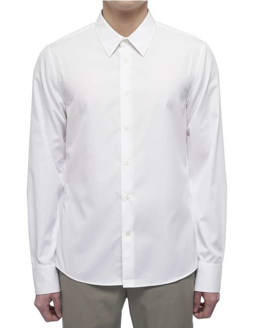 Refined Poplin  Ls Shirt - Embroidered Logo Tape@Placket - White
