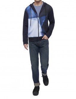 Compact Milano Long-Sleeved Zip-Up Graphic Hoodie - Navy