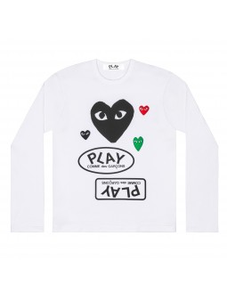 Long-Sleeved Black Heart With Mini Emblems T-Shirt Men - White