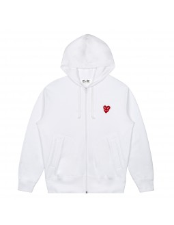 Heart-On-Heart Zip-Up Hoodie Men - Black