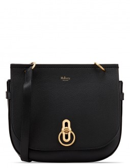 Classic Grained Leather Small Amberley Crossbody Bag - Black
