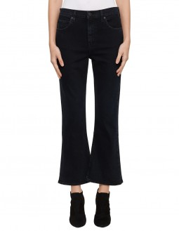 Stretch Kickback Flared Jeans - Black