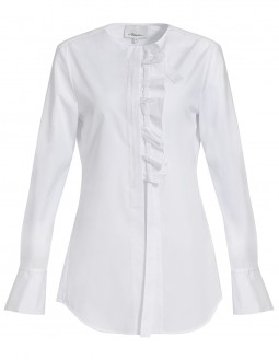 Long-sleeved Ruffled Shirt  - White