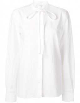 Back Lace Panel Anglaise Blouse - White
