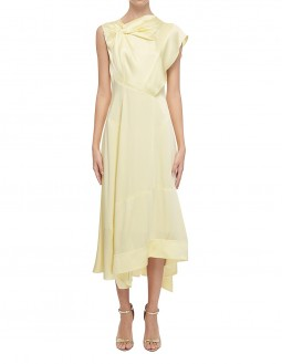 Satin Dress with Twist Neckline and Asymmetrical Hemline - Yellow