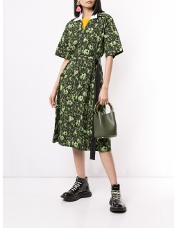 Printed Shirt Dress - Dark Green