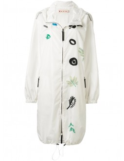 Parka With Print Badges - White