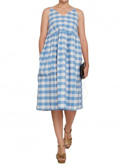Club21 Exclusive Sky Blue Gingham Sleeveless Dress - Blue