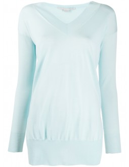 Side Slit Long Sweater - Turquoise
