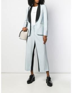 Contrast-Colour Pleated Cropped Pants - Light Blue