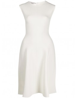 Punto Milano Slash Neck Dress - Off White