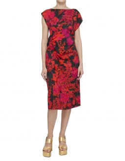 Cap Sleeved Slim Dress With Ruching Dress - Red
