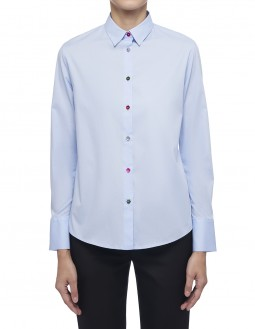Long-Sleeved Multi Flower Button Shirt - Light Blue