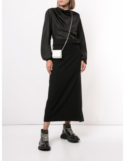 Gabardine Wrapped Pants  - Black