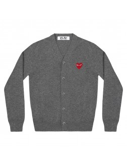 Cardigan With Red Emblem Men - Navy