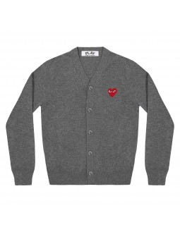 Cardigan With Red Emblem Men - Black