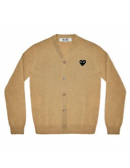 Cardigan With Black Emblem Men - Grey