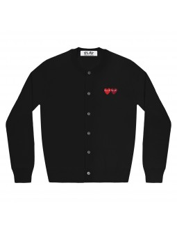 Double Red And Burgundy Hearts Cardigan Women - Black
