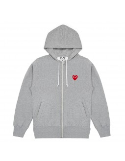 Hoodie Cardigan With Red Emblem Men - Grey