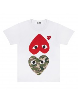 Contrast Camouflage Hearts T-Shirt Women - White
