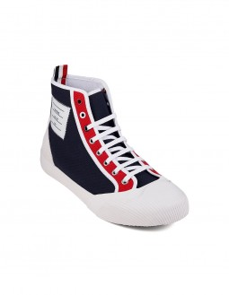 High Top Striped Sneakers - Navy