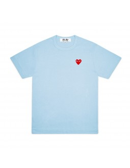 Light Blue T-Shirt With Red Emblem Women - Blue