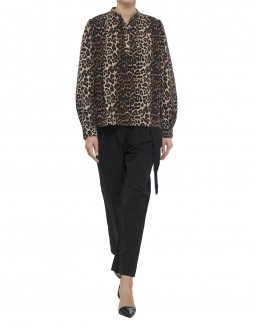 Leopard-Print Denim Blouse - Animal Print