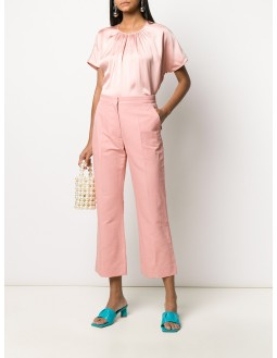 Short-Sleeved Woven Top - Pink