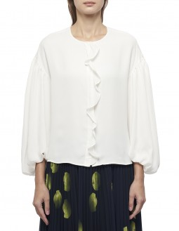 Dry Touch Crepe Frill Blouse - Off White