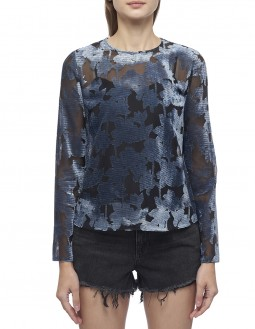 Linear Floral Burn Out Ruffled Blouse - Blue
