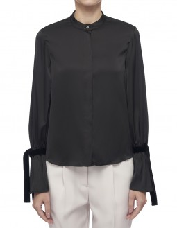 Lightweight Charmeuse Tie Blouse - Shine - Black