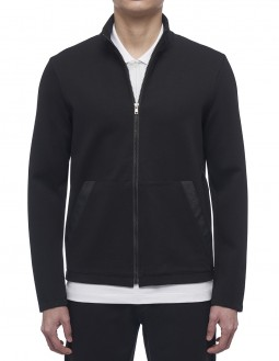 Compact Milano Ls Mock Zip-Up - Jacquard Logo Tape - Black