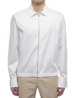 Dense Twill Ls Zip-Up Shirt - White