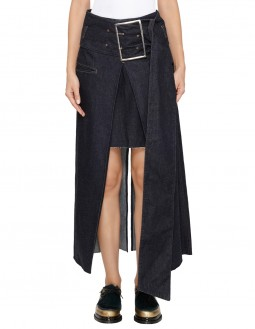 Denim Tack Asymmetric Skirt - Indigo