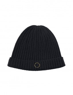 Ribbed Cashmere Beanie - Black