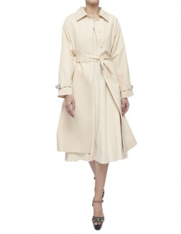 Dense Double Cotton Belted Long Trench - Half Back Lined  - Off White
