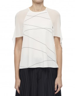 Printed Lightweight Pleated Cdc Top - Off White