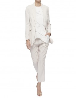 Printed Lightweight Pleated CDC Blouse - Fully Lined - Off White