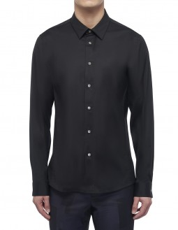Clean Cotton Stretch Long-Sleeved Shirt - Black
