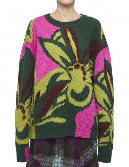 Marshmallow Oversized Floral Sweater - Green