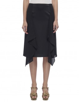 Dry Touch Crepe With Envers Satin Skirt - Fully Lined - Black