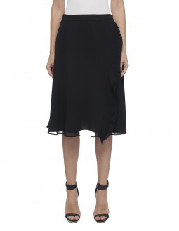 Pleated Poly Georgette Circular Skirt With Frill - Black