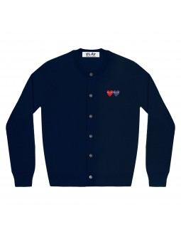 Double Red And Blue Hearts Cardigan Men - Navy