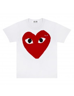 Striped T-Shirt With Red Emblem Men - White