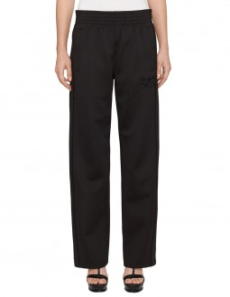 Wide Leg Tracksuit Pants - Black