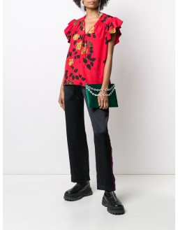 Sleeveless Tie-Neck Floral Top - Red